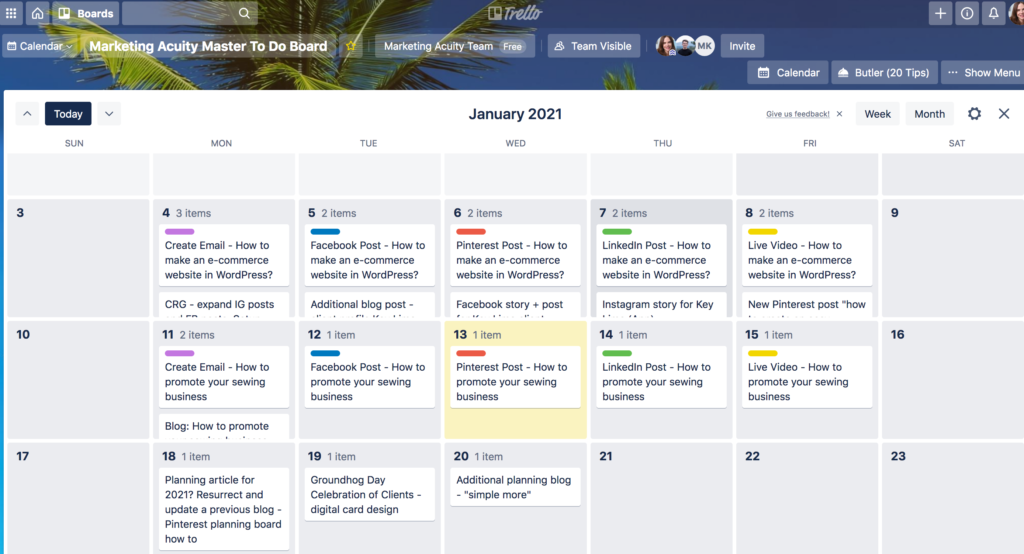 Using trello to plan a digital marketing calendar