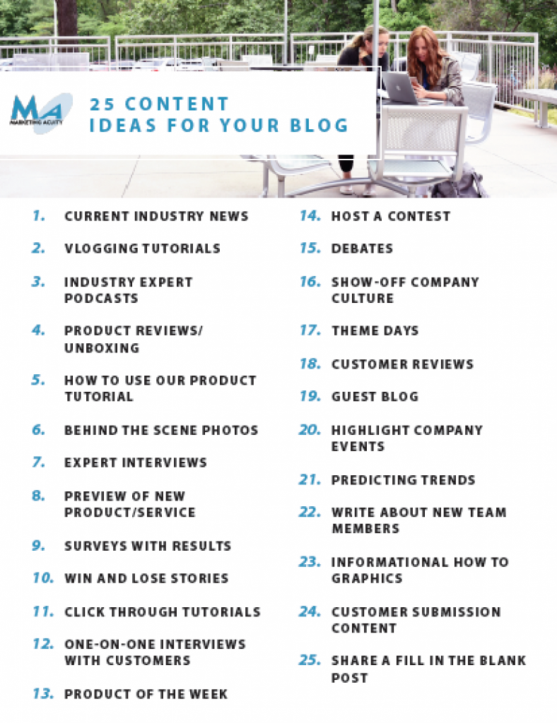 25 Content Ideas for your blog and social media