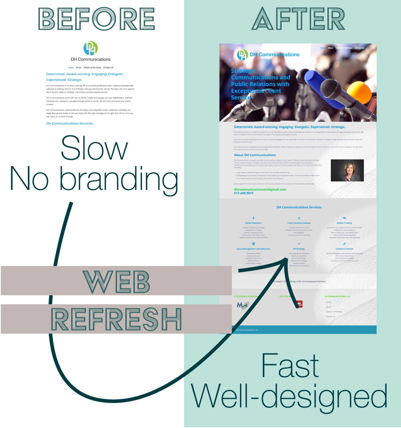 Before and after website refresh PR firm