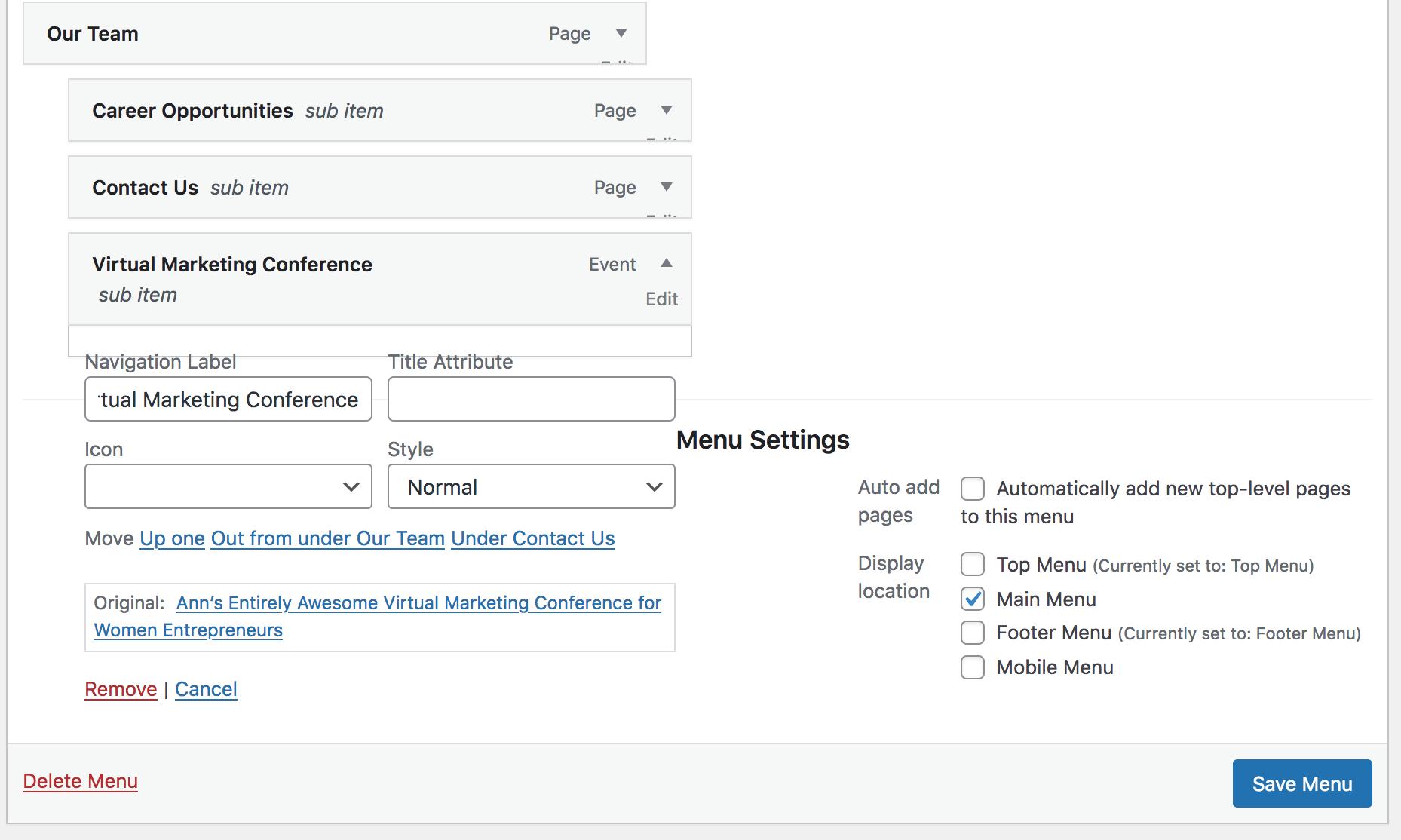 Virtual conference setup using WordPress and Event Espresso